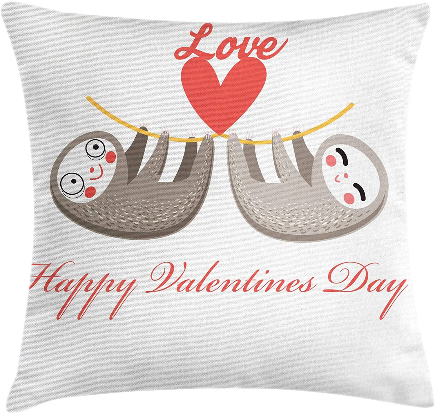Ambesonne Sloth Throw Pillow Cushion Cover, Happy Valentines Day Theme Tropical Animals Girl Romantic, Decorative Square Accent Pillow Case, 20 X 20, Scarlet Grey