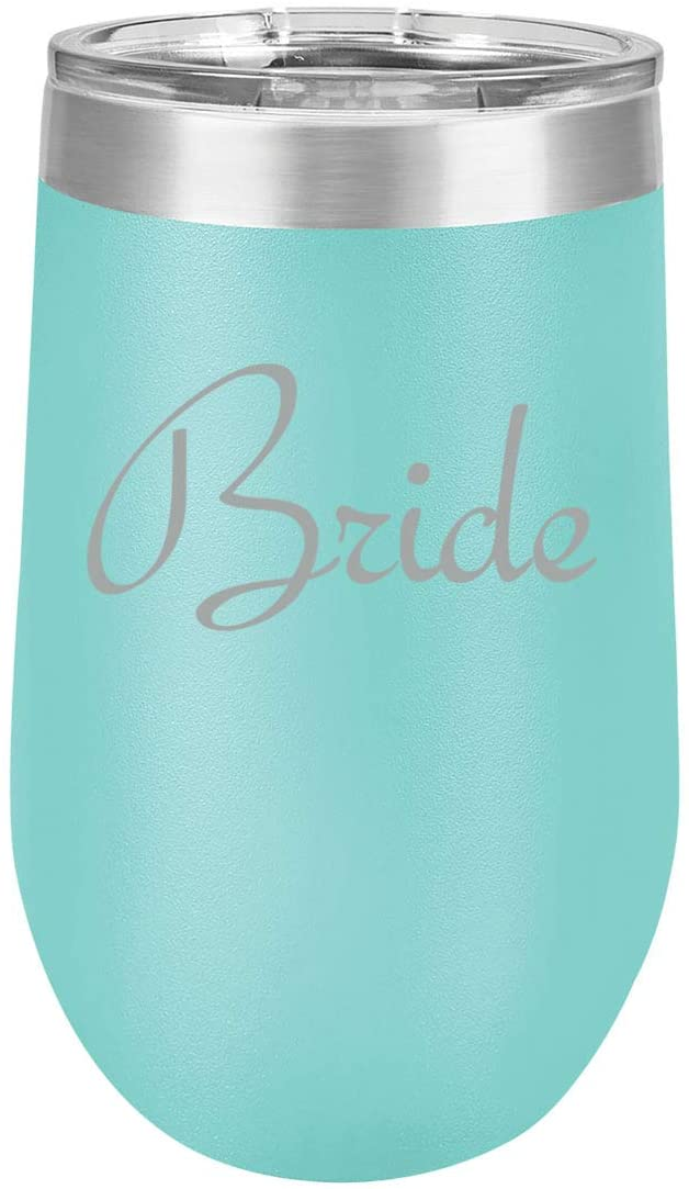 16 oz Double Wall Vacuum Insulated Stainless Steel Stemless Wine Tumbler Glass Coffee Travel Mug With Lid Bride Bachelorette Wedding (Teal)