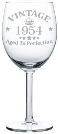 Wine Glass Goblet Vintage Aged To Perfection 1954 66th Birthday (10 oz)