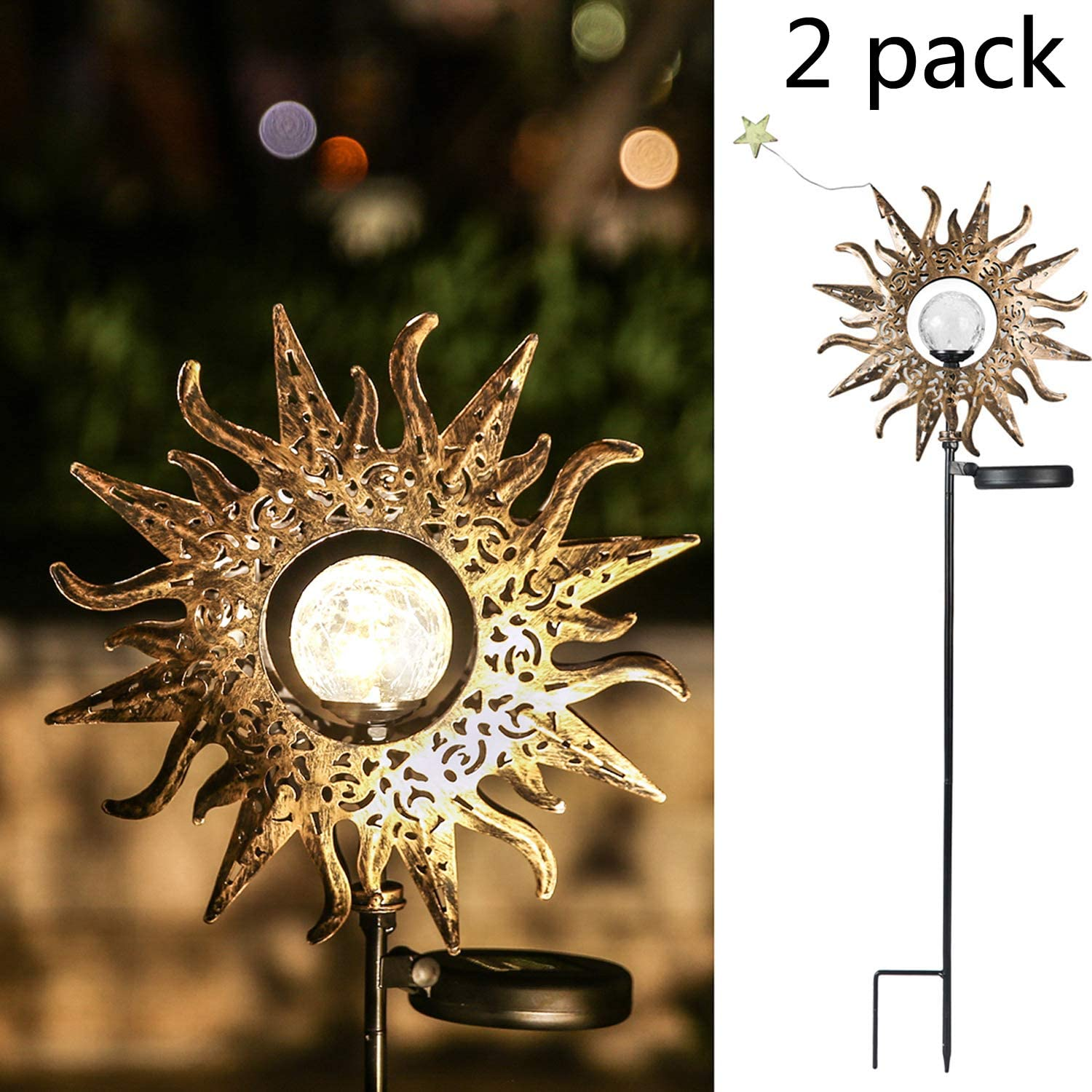 Sun Solar Lights Outdoor Garden - 2 Pack Waterproof Metal Decorative Stakes Lights for Lawn,Patio,Pathway,Yard (2 Pack)