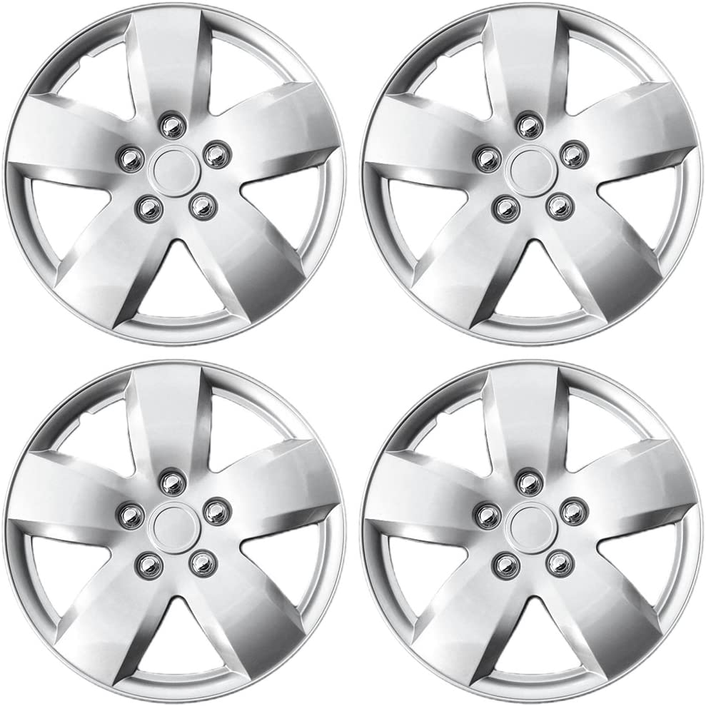 15 inch Hubcaps Best for 2007-2008 Nissan Altima - (Set of 4) Wheel Covers 15in Hub Caps Silver Rim Cover - Car Accessories for 15 inch Wheels - Snap On Hubcap, Auto Tire Replacement Exterior Cap