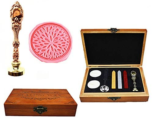 MNYR Blossom Decorative Luxury Wood Box Rose Gold Metal Peacock Wedding Invitations Gift Cards Paper Stationary Envelope Seals Custom Wax Seal Sealing Stamp Wax Sticks Melting Spoon Wood Gift Box Kit