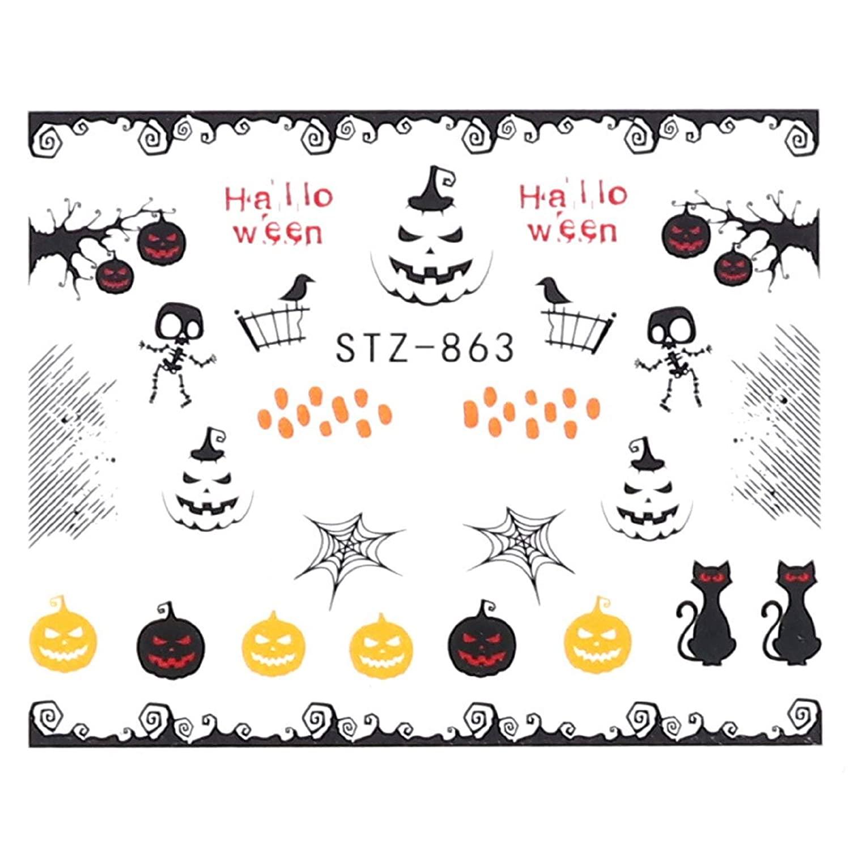 1 Computer Pumpkin Nail Stickers Water Decals Autumn Maple Skull and Skeleton Halloween Designs Nail Art Decoration Slider (STZ863)