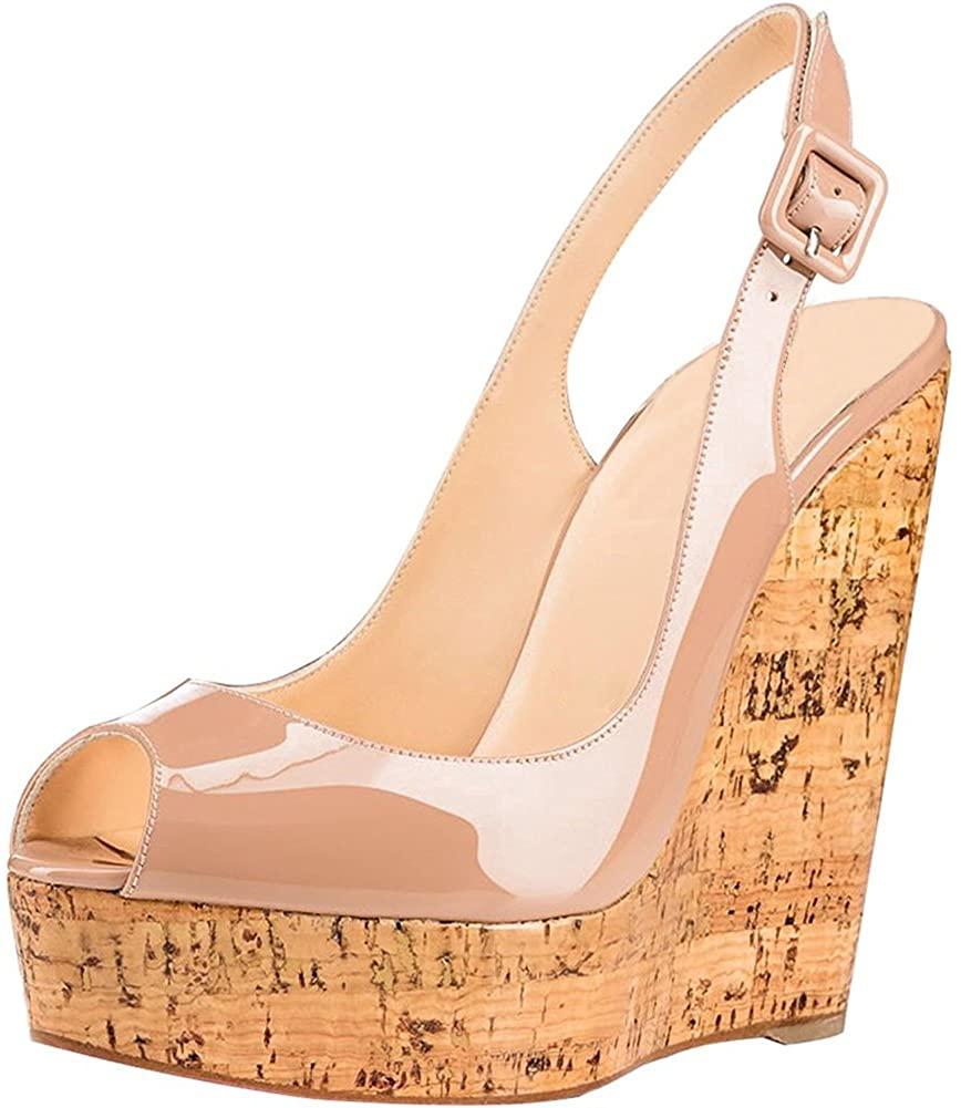JOY IN LOVE Women's Wedge Shoes Heeled Sandals High Platform Open Toe Ankle Strap Sandals Summer