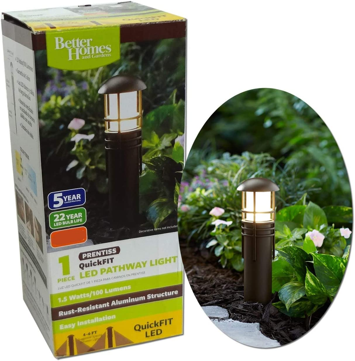 1-Piece Prentiss QuickFIT LED Pathway Light