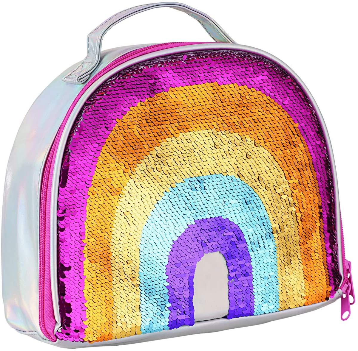Locisne Insulated Mermaid Lunch Box, Reversible Sequin Lunch Tote Bag, Handheld Durable Thermal Reusable School Lunch Tote Glitter, Perfect for Working Women or Kids Girls Boy Outdoor Picnic (Rainbow)