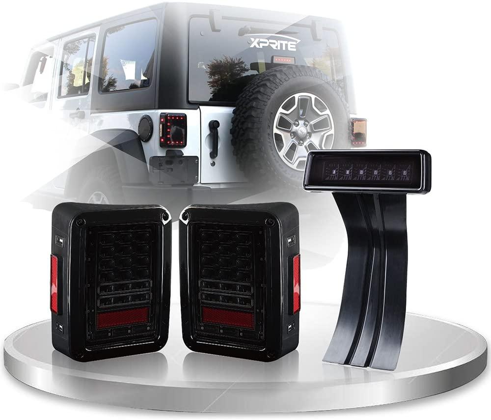 Xprite Smoke Lens Red LED Tail Light w/Turn Signal & Back Up & Smoke 3rd LED Brake Light Assembly For Jeep Wrangler JK JKU 2007-2018