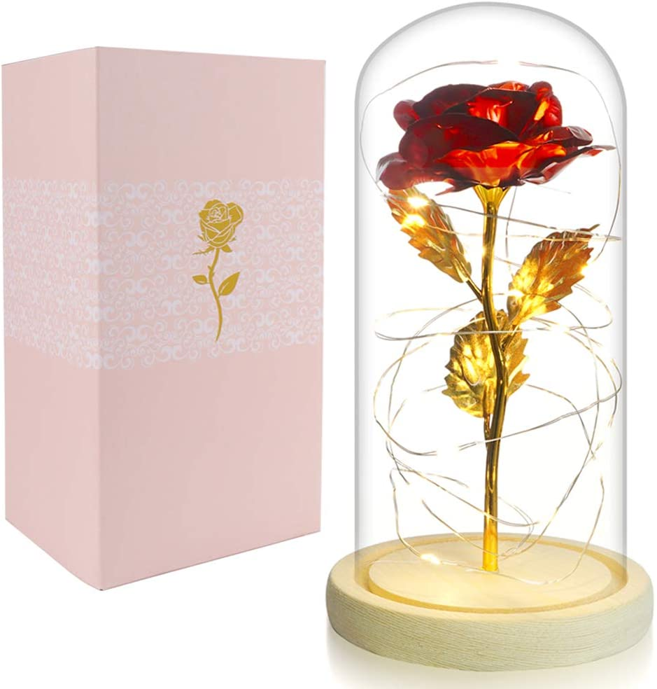 Beferr Beauty and The Beast Rose Enchanted Flower with LED Light in Glass Dome for Christmas Valentine's Day Mother's Day Birthday Best Gifts for Girlfriend Wife Women - Red Foil
