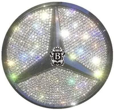 Boobo MBBR01G Ice Out Rear Trunk Badge Bling Insert Emblem with Genuine Austrian Crystal Insert for Mercedes Benz GLC300 GLC350 GLC63 New GLC-Class (Silver)