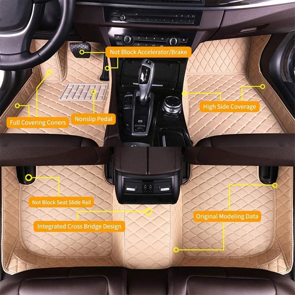 Custom Car Floor Mats for Jaguar XJ8 2005-2009 Waterproof Anti-Skid Luxury Leather Full Coverage Liner Front & Rear Mat/Set (Beige)