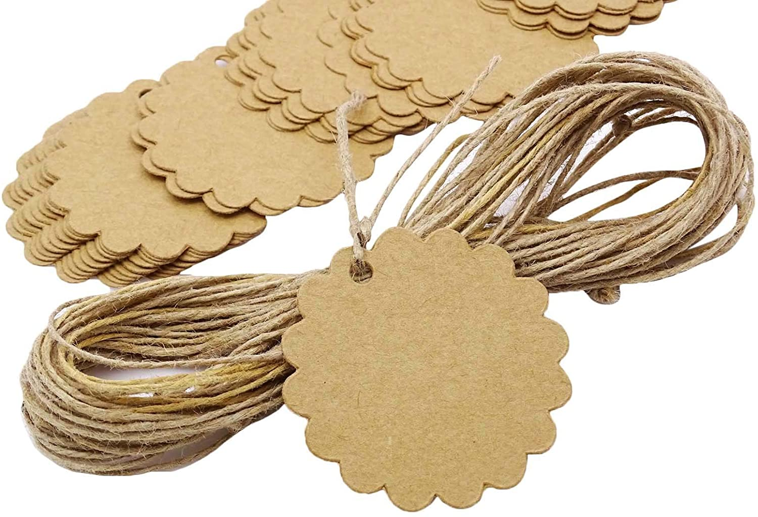 100 PCS Scalloped Wedding Brown Kraft Paper Tag Bonbonniere Favor Lolly Bag Gift Tags with Jute Twines