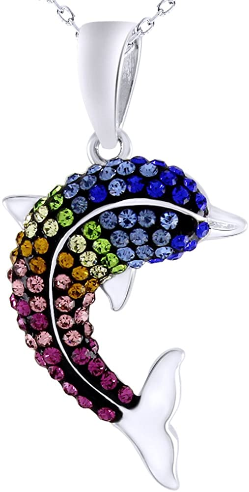 AFFY Rainbow Crystal Dolphin Fashion Pendant Necklace in 14k White Gold Over Sterling Silver