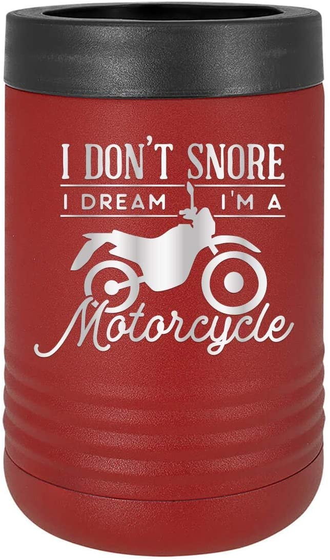 I Don't Snore I'm Dream I'm A Motorcycle - Engraved Tumbler Wine Mug Cup Unique Funny Birthday Idea for Men Women Motorcycle Motorbike Scooter Chopper Motor bike (Holder, Crimson)