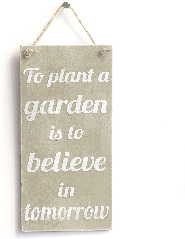 Meijiafei Plant A Garden Believe - Rustic Small Motivational Gardening Sign 10