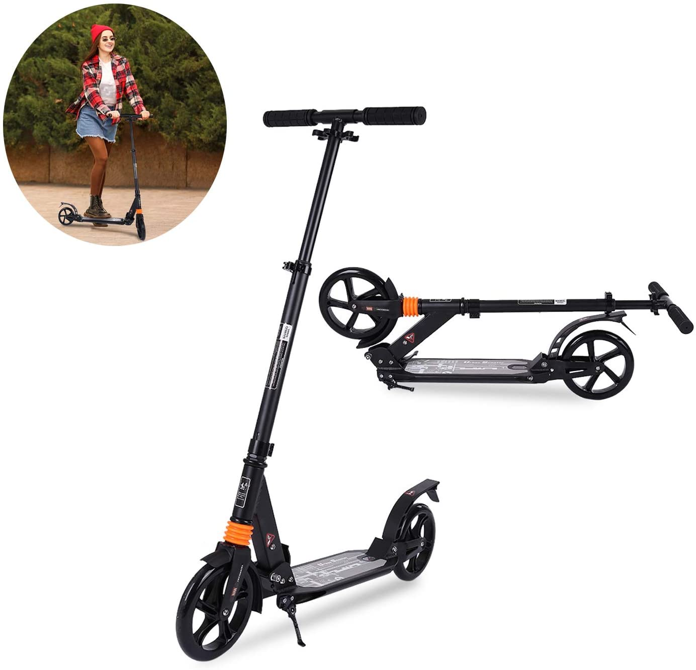 【US Spot】 Scooter, Height Adjustable and Oversized Wheels, Youth Folding Scooter,Kick Scooter for Adults, Teens - Foldable, Students, Office Workers, Urban Enviroments, and Near Commuting