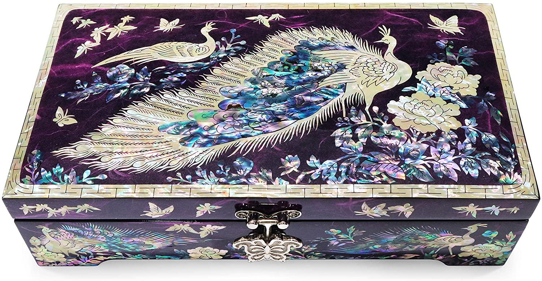 MADDesign Mirror Lid Peacocks Design Purple Jewelry Box
