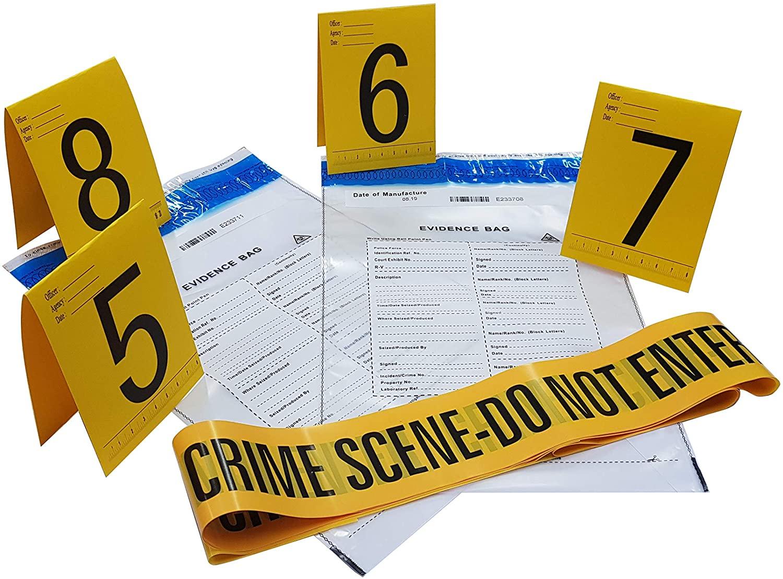 Kobe1 Crime Scene Tape Do Not Enter (20 ft),Evidence Bags (x2),Photo Evidence Cards (5 to 8),(4 in x 6 in Folded).