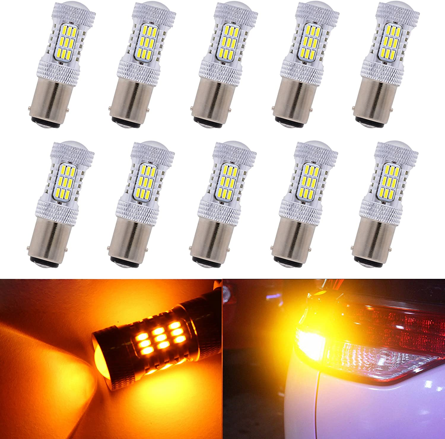 KaTur Brightness 900 Lumens 1157 7528 BAY15D 1016 1034 1196 Base 4014 45SMD Lens LED Replacement Light Bulbs Turn Signal Tail Rear Brake Lights Bulb Reverse Backup Light Bulbs 8000K Amber (Pack of 10)