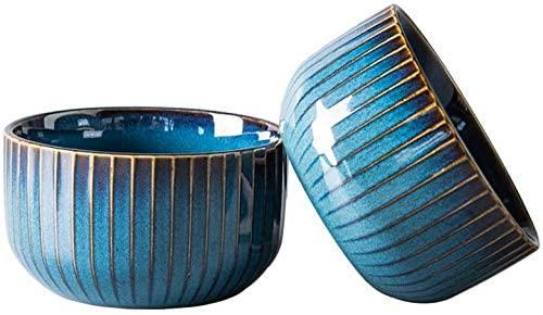 Set of 2 cereal bowls made of porcelain, ceramic small bowls, dessert bowl, snack bowl, bowl of retro dishes, blue series
