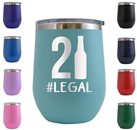 21 Legal - Engraved 12 oz Stemless Wine Tumbler Cup Glass Etched - Funny Birthday Ideas for Best Friend 21st Bday Twenty One Hilarious 1999(Teal - 12 oz)