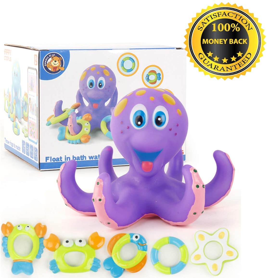 Glory Floating Purple Soft Rubber Octopus with 5pcs Marine Biosphere Hoopla Rings Assorted Playing Bath Toys for Kids & Toddlers