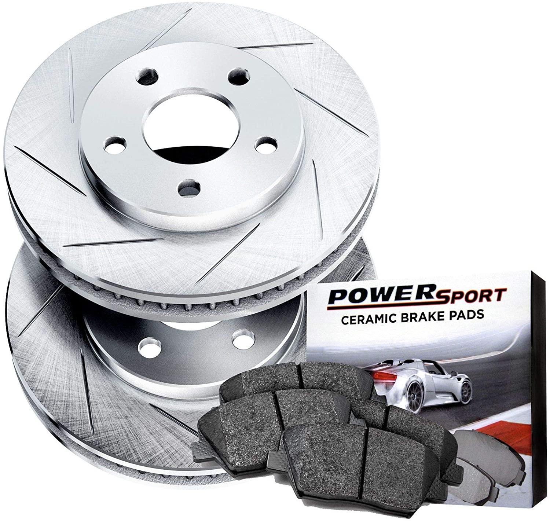 Power Sport Slotted Brake Rotors and Ceramic Brake Pads Kit -80289