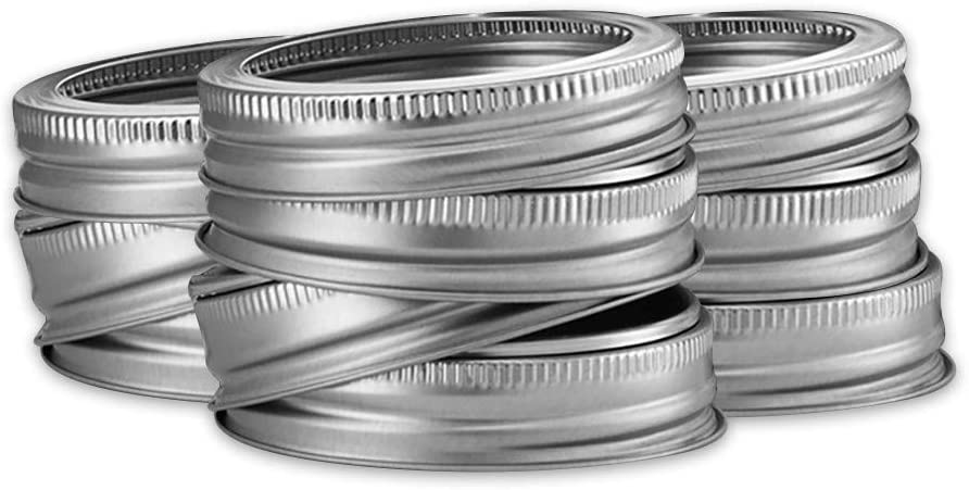 WOSHA Canning Lids, Regular Mouth Mason Jar Lids And Bands, Lids For Mason Jar Wide Mouth, Split-type Lids Leak Proof And Secure Canning Jar Caps, 24 Pack (Gold/Silver)