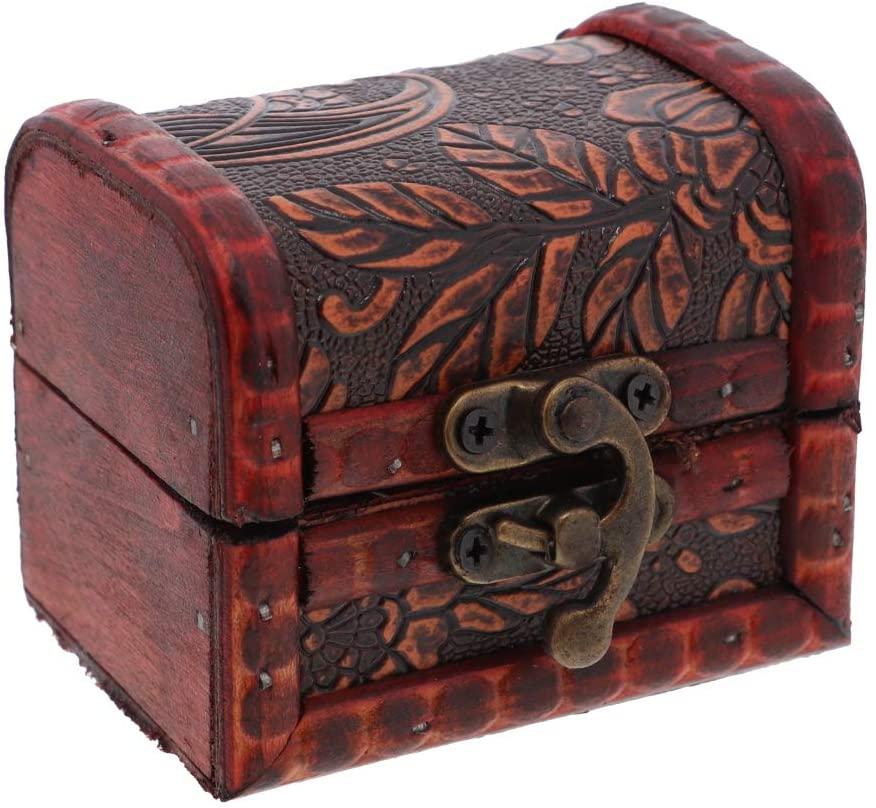 SandT Collection 3 Inch Wooden Keepsake Treasure Chest Trinket Box - Nature