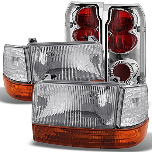 For F150 F250 F350 Bronce Clear Headlights Lamps + Corner + Amber Bumper Signal + Tail Lights