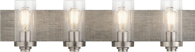 Kichler 45929CLP Dalwood Vanity, 4-Light 300 Total Watts, Classic Pewter