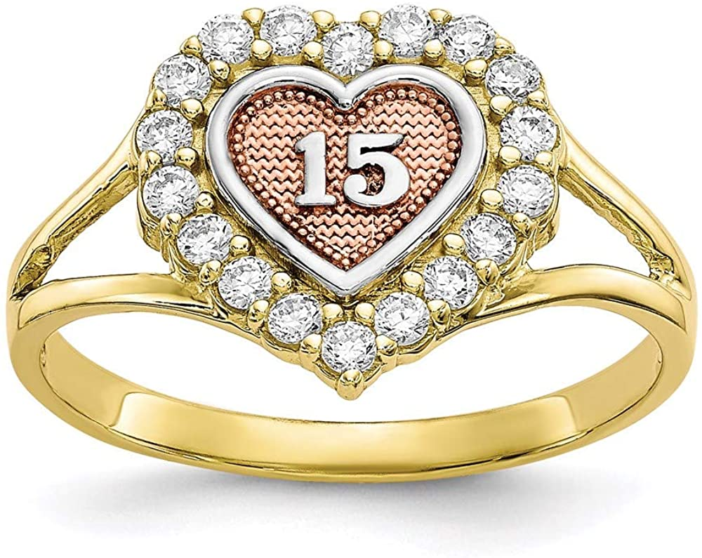 10k Two Tone Yellow Gold Sweet 15 Heart Band Ring Size 6.00 S/love Fine Jewelry For Women Gifts For Her