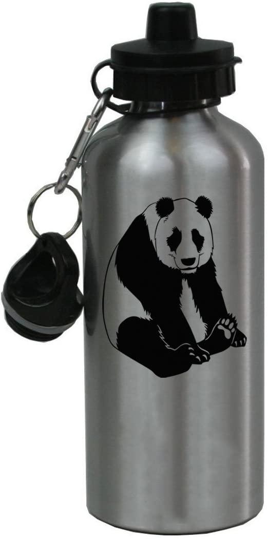 Personalized Custom Panda Aluminum Silver Finish 20 Ounce Water Bottle Customizable