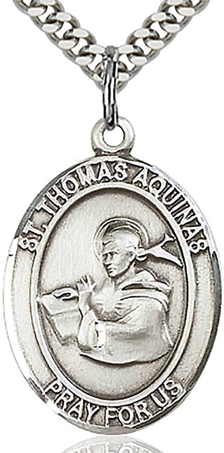 Heartland Men's St. Thomas Aquinas Sterling Silver Medal + Patron Saint of Academics + USA Made