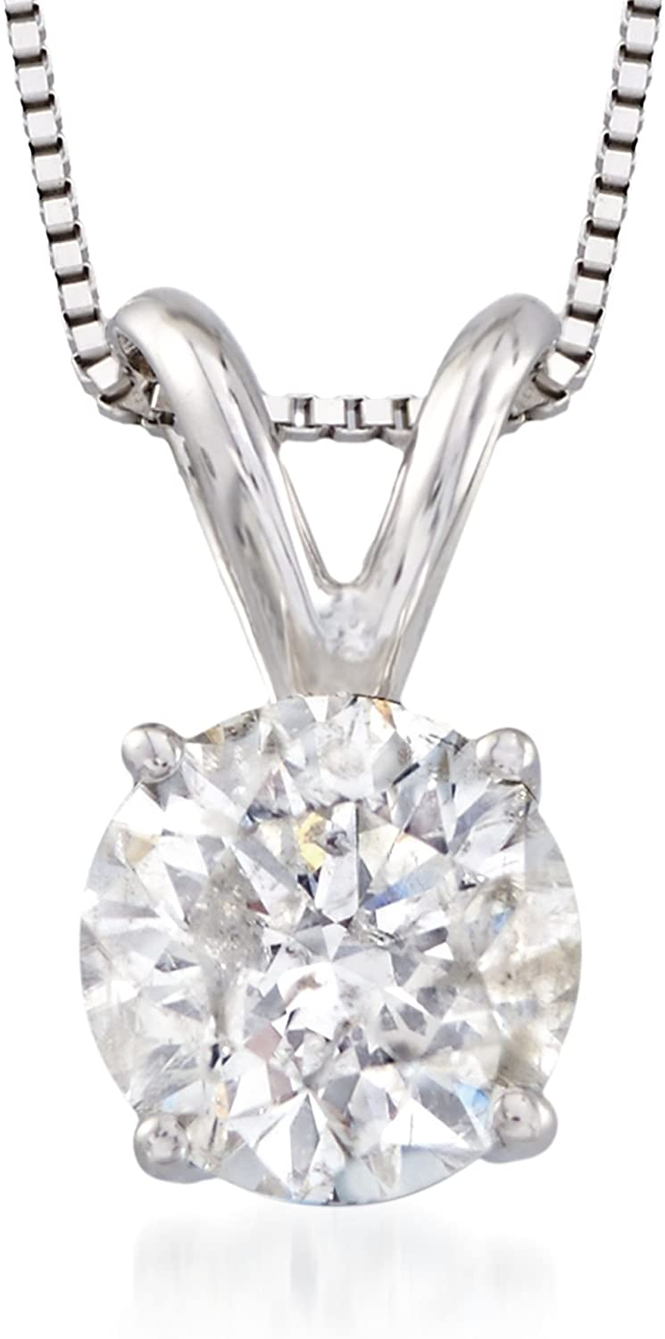 Ross-Simons 1.00 Carat Diamond Solitaire Necklace in 14kt White Gold