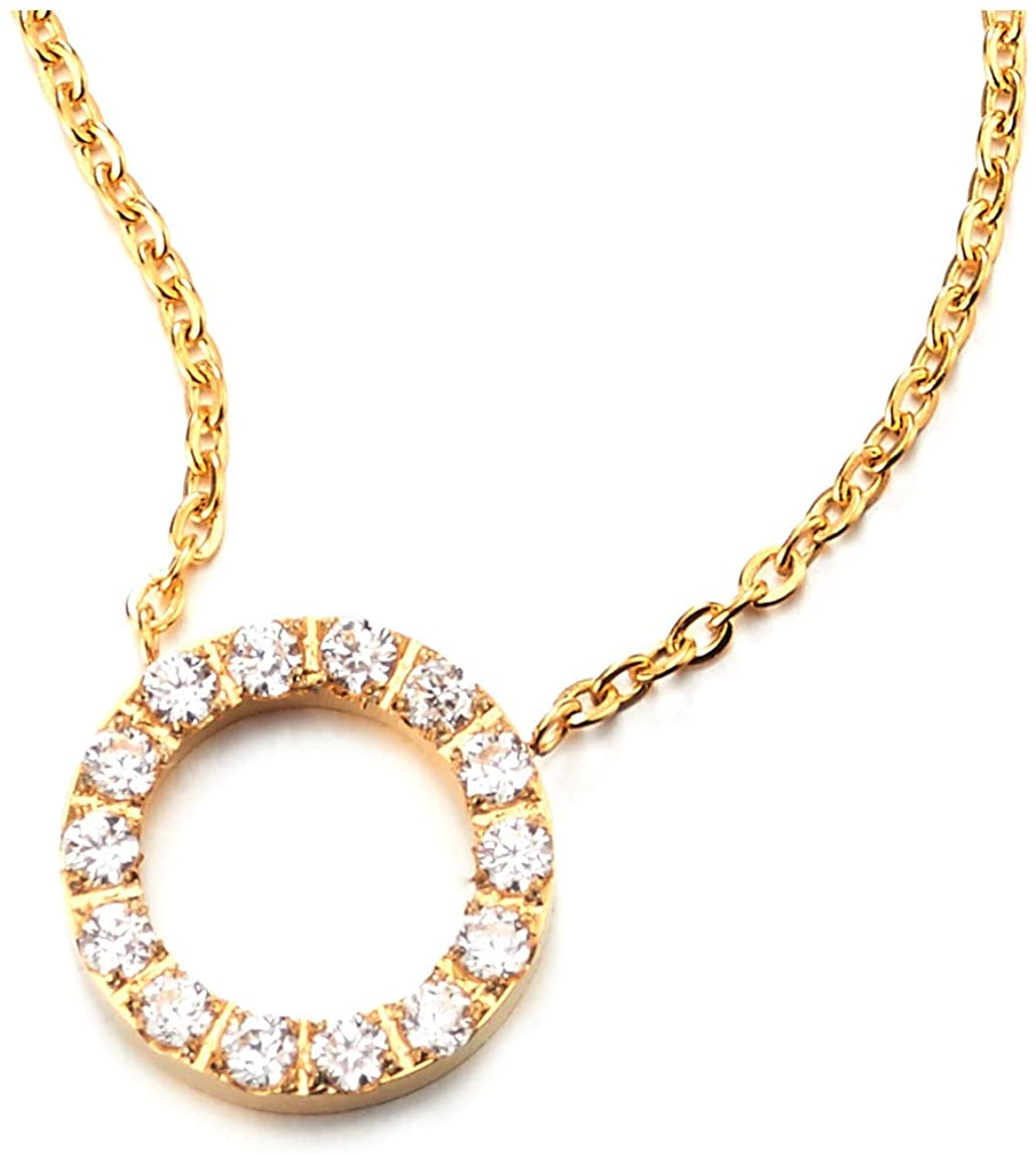 COOLSTEELANDBEYOND Exquisite Cubic Zirconia Cluster Open Circle Pendant Gold Color Steel Necklace Adjustable Rope Chain