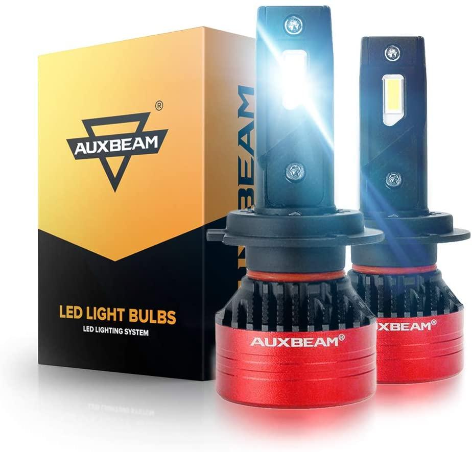 Auxbeam F3 Series H7 Led Headlight Bulb, 8000 Lumens 6500K, Single Beam Fan Conversion Kit, Anti-Flickering Upgraded Canbus Decoder Ready, Triple Heat Dissipation, Pack of 2