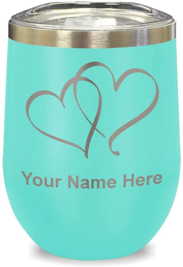 LaserGram Double Wall Stainless Steel Wine Glass Tumbler, Twin Hearts, Personalized Engraving Included (Teal)