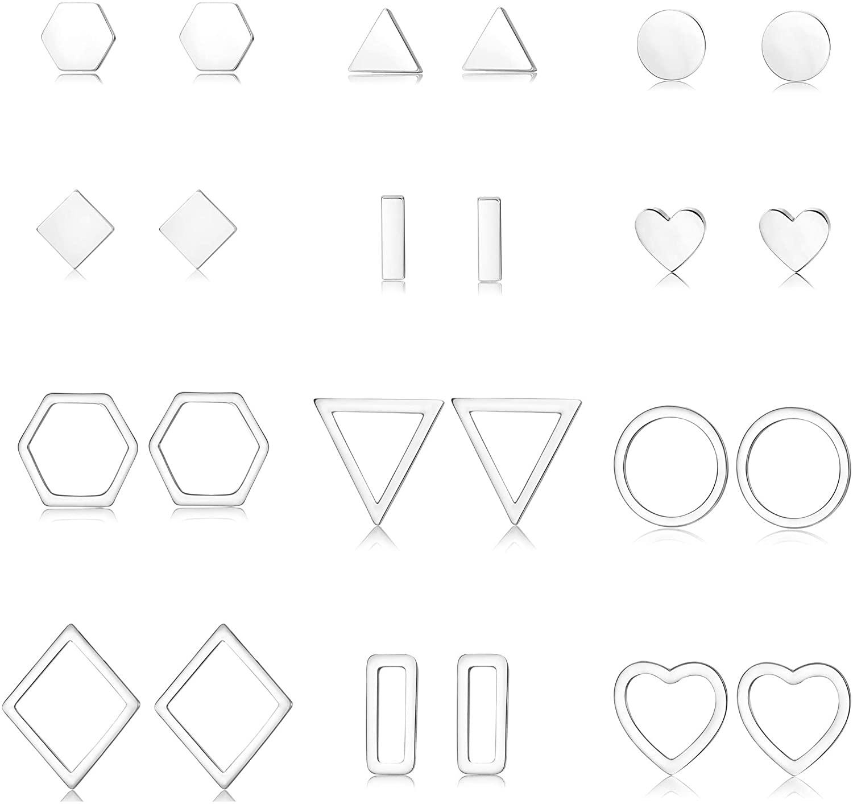 JOERICA Geometric Minimalist Stud Earrings for Women Simple Rhombus Hexagon Triangle Bar Heart Circle Earrings Set