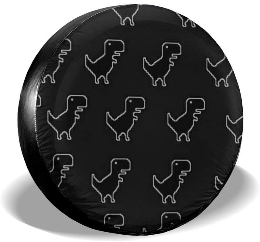 Tire Cover Little Dinosaur Black Portable Polyester Universal Spare Wheel Tire Cover Wheel Covers for Jeep Trailer RV SUV Truck Camper Travel Trailer Accessories