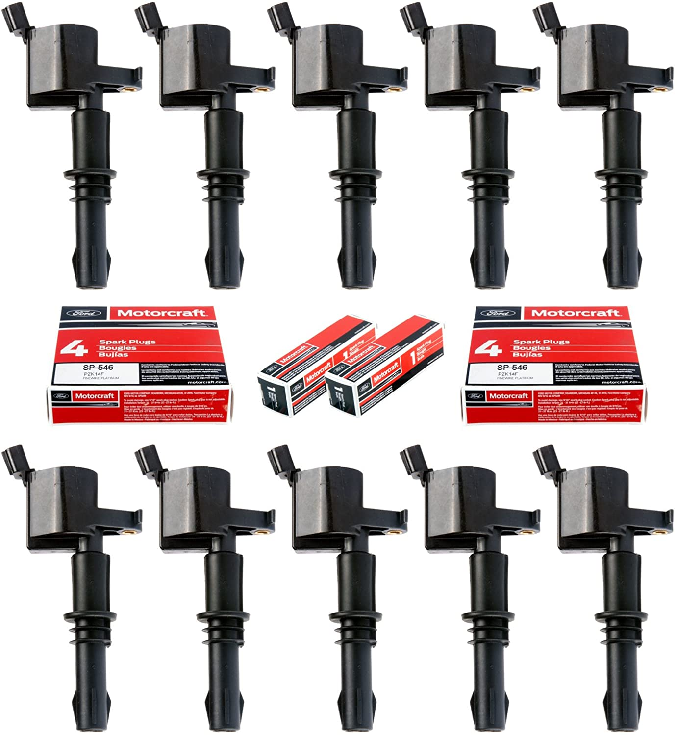 MAS Set of 10 SP546 Motorcraft Spark Plugs and 10 Straight Boot Ignition Coils DG511 Compatible with Ford Lincoln Mercury V8 V10 4.6l 5.4l 6.8l 3L3E12A366CA 5C1584 C1541 FD-508 UF-537