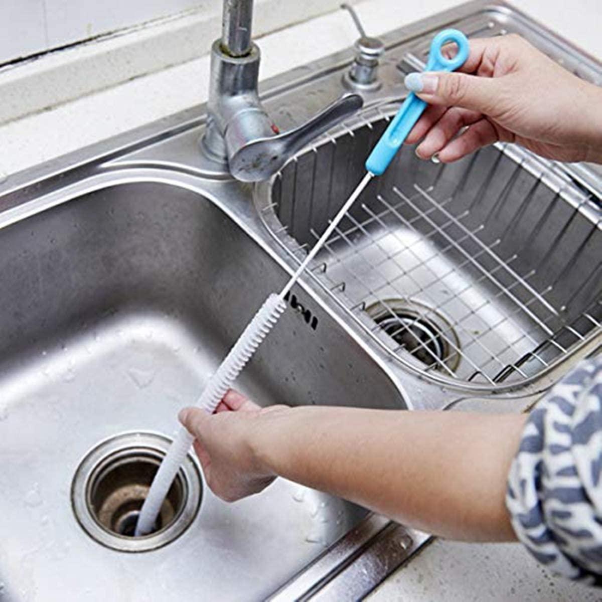 wcly Drain Snake Brush,Drain Brush for a Sink Drain,28 inch(71cm) Bendable Home Sink Tub Toilet Dredge Sink Drain Clog Brush,2PCS