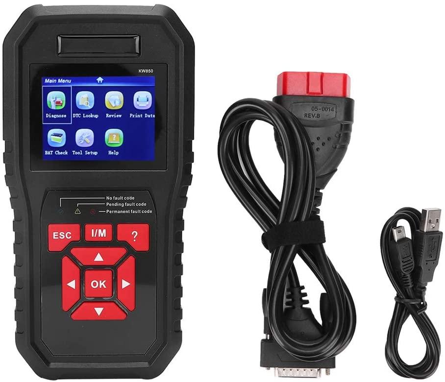 Suuonee Car Diagnostic Instrument, KW850 OBD2 EOBD Scanner Car Code Reader Tester Car Diagnostic Tool Instrument(Black)