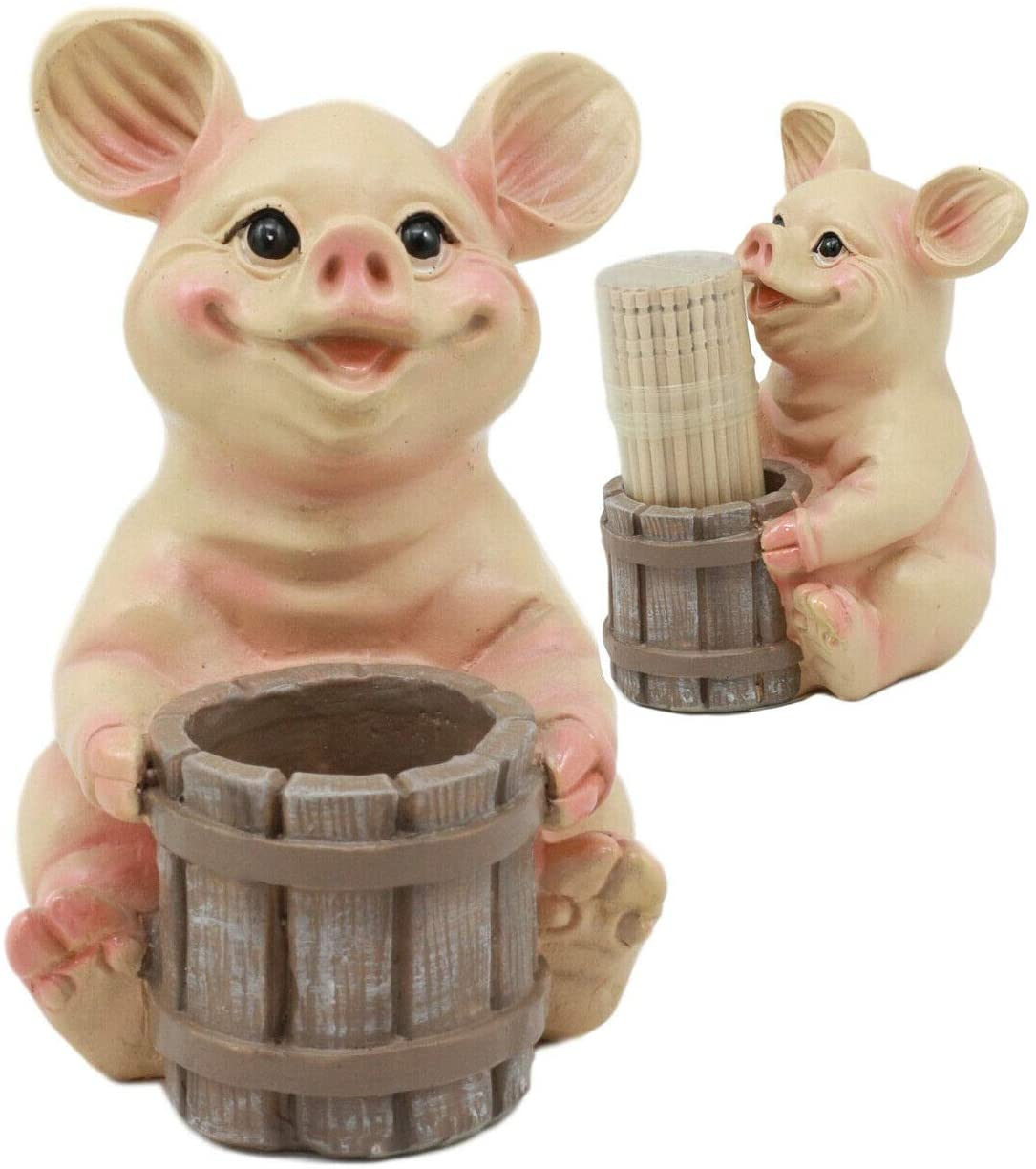 HomDEc Country Farm Barn Piglet Pig by A Barrel Toothpick Holder with Toothpicks