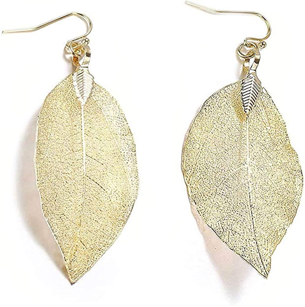 YUNXI Delicate Teardrop Filigree Long Leaf Pendant Dangle Fashion Gifts for Women Girls Dangle Earrings Lightweight Statement Cutout Dangling Drops for Women Vintage-Style Teardrop