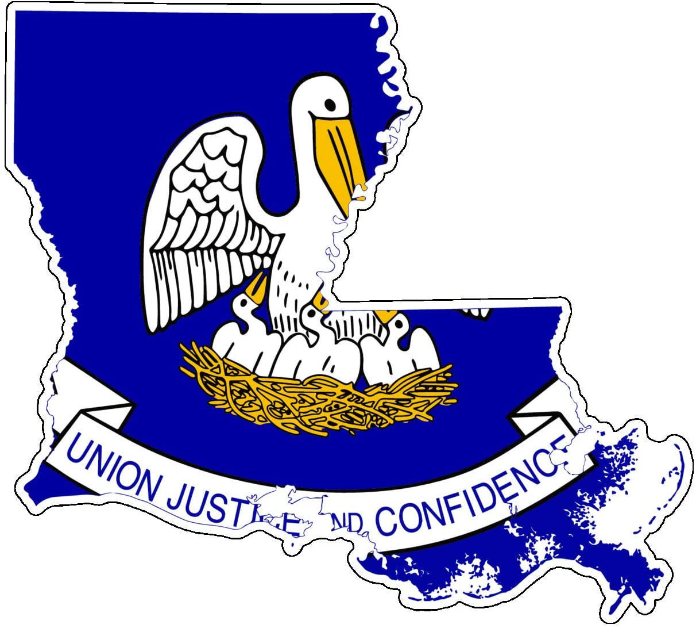 WickedGoodz Die Cut Louisiana Vinyl Decal - State Flag Bumper Sticker - Perfect for Laptops Tumblers Windows Cars Trucks Walls Cups