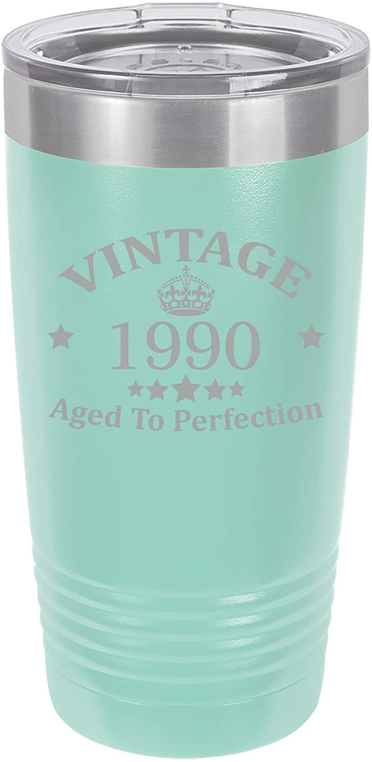 Tumbler Stainless Steel Vacuum Insulated Travel Mug Vintage Aged To Perfection 1990 30th Birthday (Teal, 20 oz)