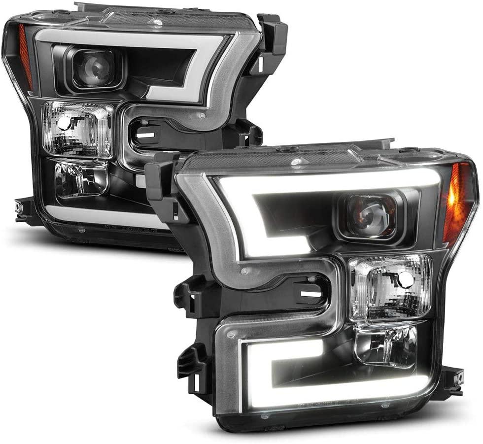 ACANII - For 2015-2017 Ford F150 LED Light Tube DRL Black Housing Projector Headlight Headlamp, Driver & Passenger Side