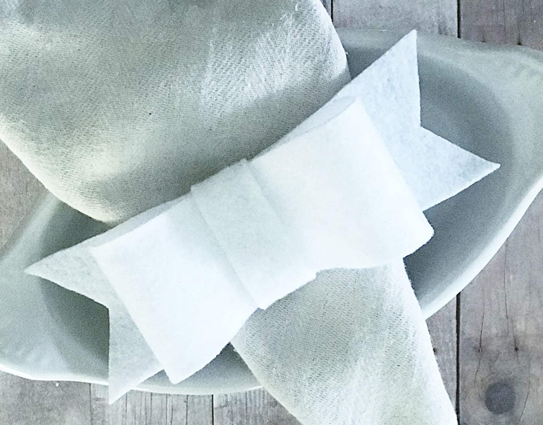 White Felt Bow Napkin Rings Rustic Formal Dinner Table Setting Decor