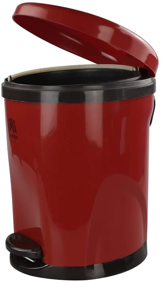 Cand 10 Liter Step Plastic Trash Can, Garbage Bin with Lid for Home Bedroom (Red)