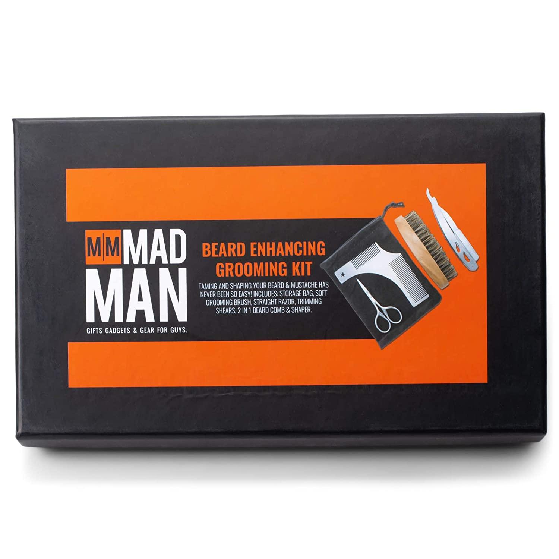 Razor Scissors Comb Midnight Black 6 x 4 Metal Alloy and Wood Beard Care Kit